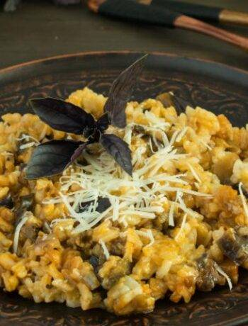 Рецепт риса с грибами и баклажанами