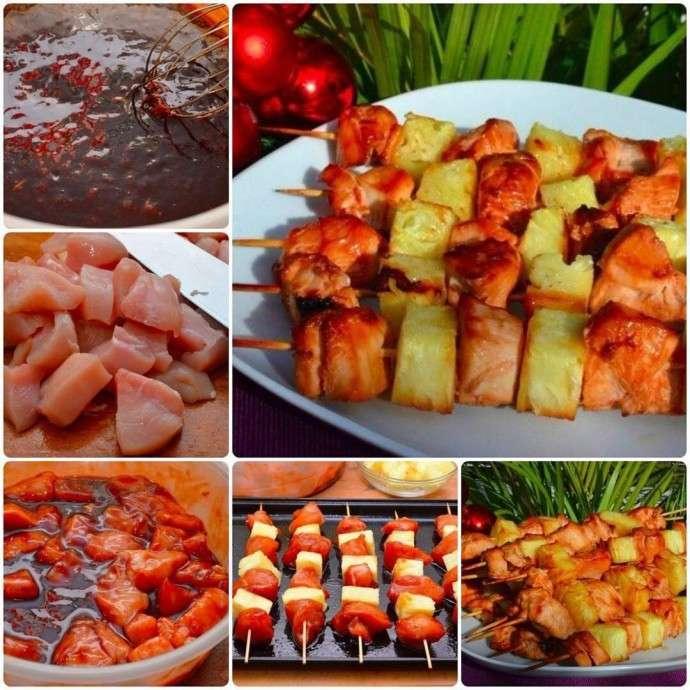 Домашние шашлычки с куриным филе и ананасами