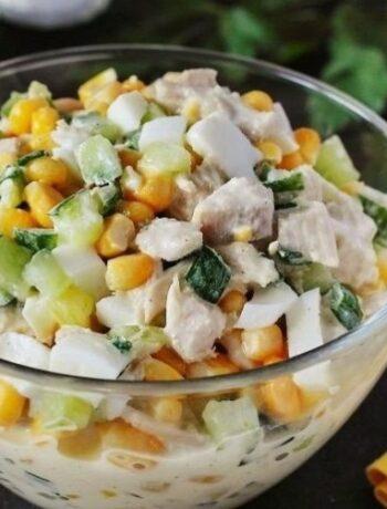 Салат из куриного филе и свежего огурца