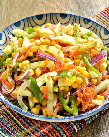 Салат с кукурузой и болгарским перцем без майонеза