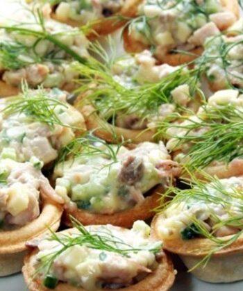 Тарталетки с консервированным тунцом на праздник