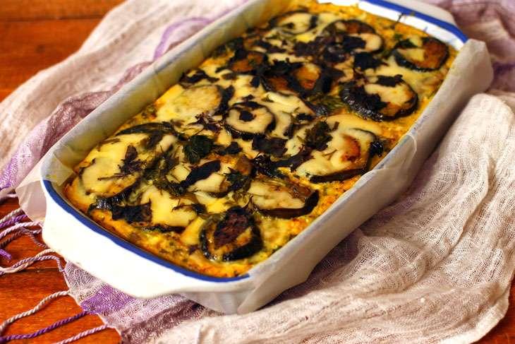 Запеканка с грибами, баклажанами и картофельным пюре